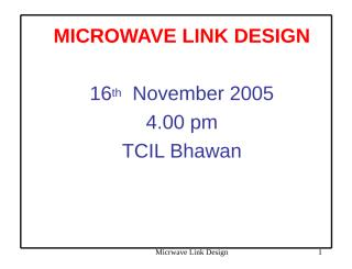 TCIL 17 Microwave Link Design.ppt