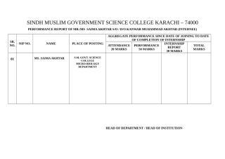PERFORMANCE REPORT INTERNEE (SAIMA AKHTAR).doc
